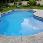 Large rounded swimming pool in Kanata backyard - lots of depth