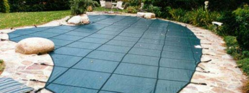 Mesh pool cover protects pool