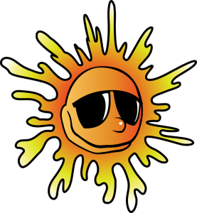 Sun wearing sunglasses, reminding you to stay cool for summer.