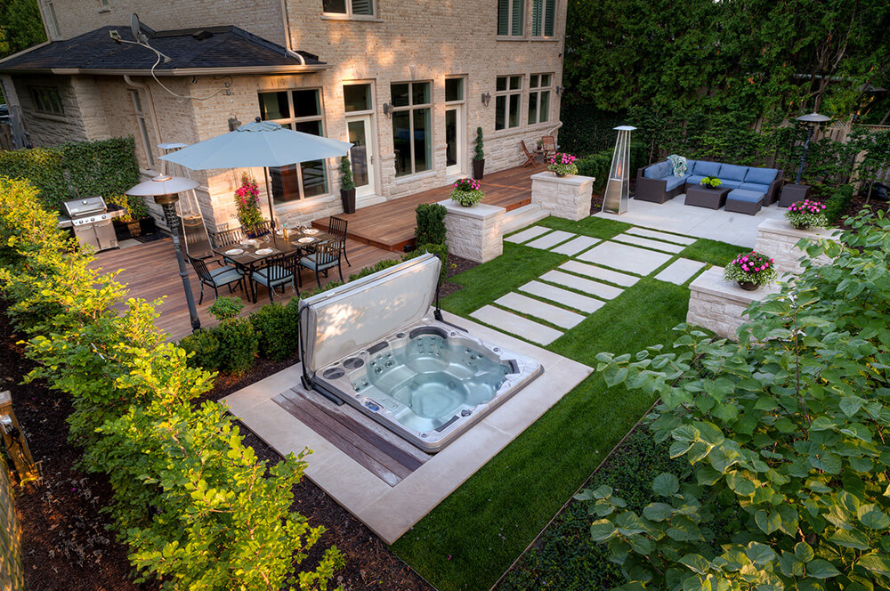 Hot tub installed in beautiful Ottawa back yard