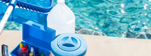 view of water cleaning items and chemicals for chlorine and saltwater pools